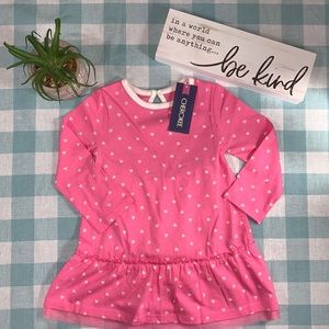 Cherokee Dress & Bloomers Pink White Hearts 12 mon
